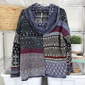 FREE PEOPLE | oversized cowl patchwork pullover